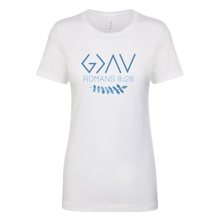 God is Greater than High's and Low's Greek Lettering Ladies Slim Fit