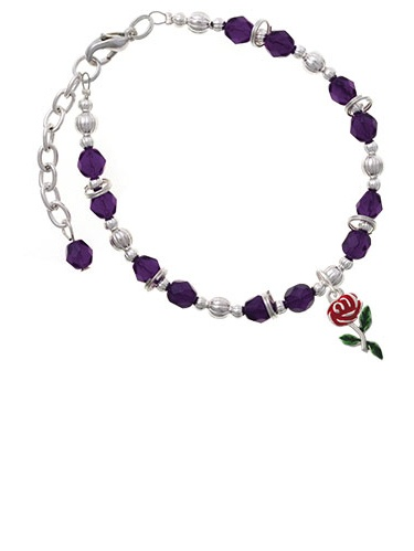 Red Rose Flower Purple Beaded Bracelet by Delight and Co.