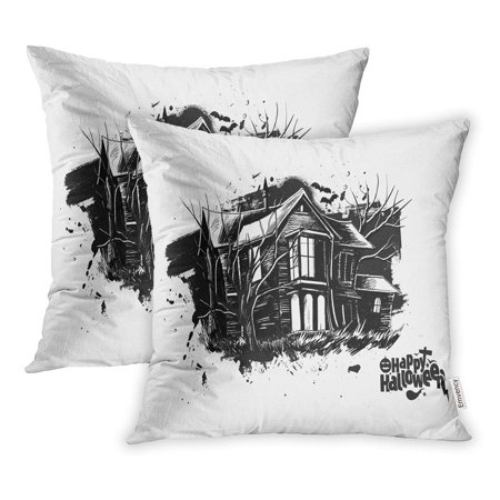 ECCOT House Halloween Scary Farmhouse Sketch Haunted Castle Pillowcase Pillow Cover 20x20 inch Set of 2 - Halloween Wars The Haunted Farm