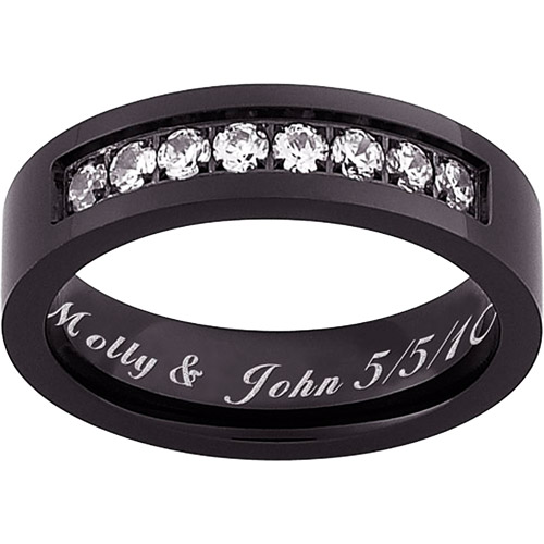 Personalized Flat Black Titanium with Cubic Zirconia Message Band