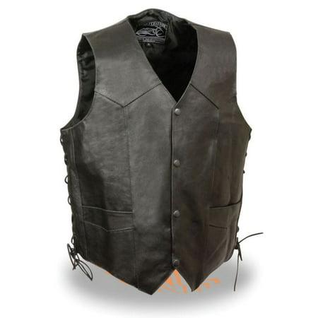 Milwaukee Event Mens Side Lace Leather Vest w/Eagle Head & Stars - Eagle Vest