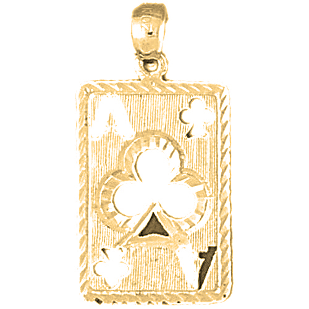 Yellow Gold-plated 925 Sterling Silver Playing Cards, Ace Of Clubs Pendant - 30 mm (Approx. 1.955 grams)