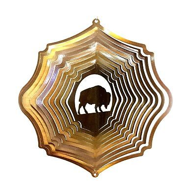 """12"""" Wind Spinner Buffalo Bison Copper Hanging Garden Decor Chimes Sock Gift by"""