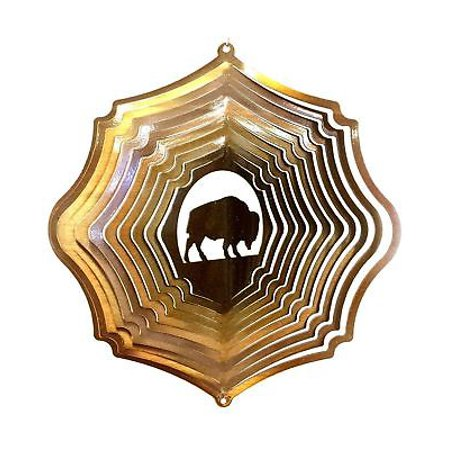 "12"" Wind Spinner Buffalo Bison Copper Hanging Garden Decor Chimes Sock Gift thumbnail"