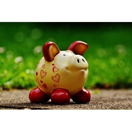 Laminated Poster Funny Save Piggy Bank Savings Bank Heart Ceramic Poster Print 24 X 36