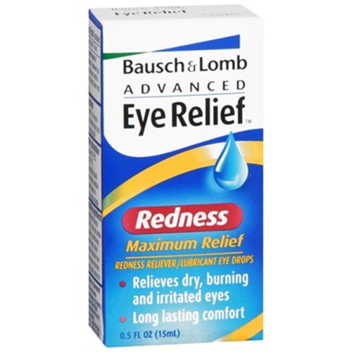 Bausch & Lomb Advanced Eye Relief Redness Maximum Relief Eye Drops 0.50 oz (Pack of 4)