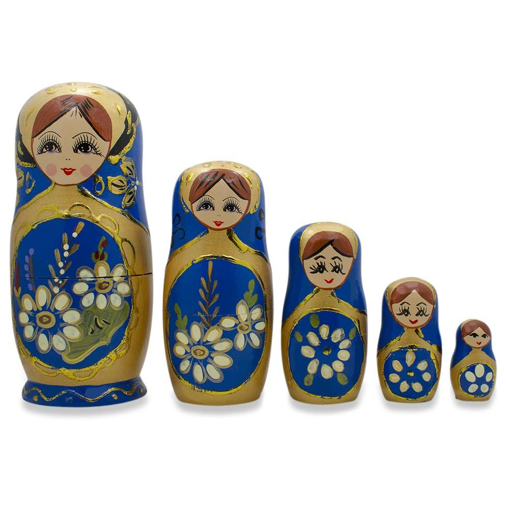 "6.5"" Set of 5 White Flowers on Blue Russian Nesting Dolls"