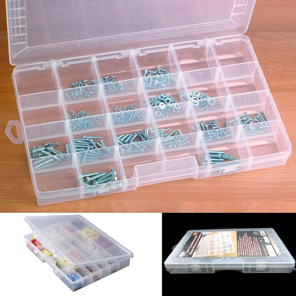 24 Compartment Organizer Plastic Bin Portable Parts Storage Container Case Bolts