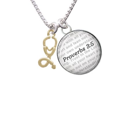 Gold Tone Stethoscope - Bible Verse Proverbs 3:5 Glass Dome Necklace