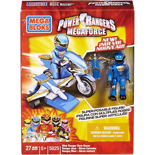 Mega Bloks Power Rangers MegaForce Blue Ranger Hero Racer Set #5825
