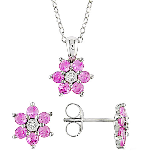 1-5/8 Carat T.G.W. Created Pink Sapphire and Diamond Accent Sterling Silver Pendant and Earrings