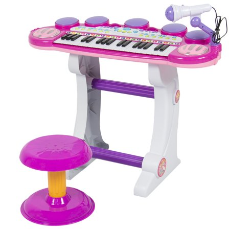 Best Choice Products 37-Key Kids Electronic Musical Instrument Piano Toy Keyboard w/ Record and Playback, Microphone, Synthesizer, Stool - Pink (Kid Toy Musical Instruments)