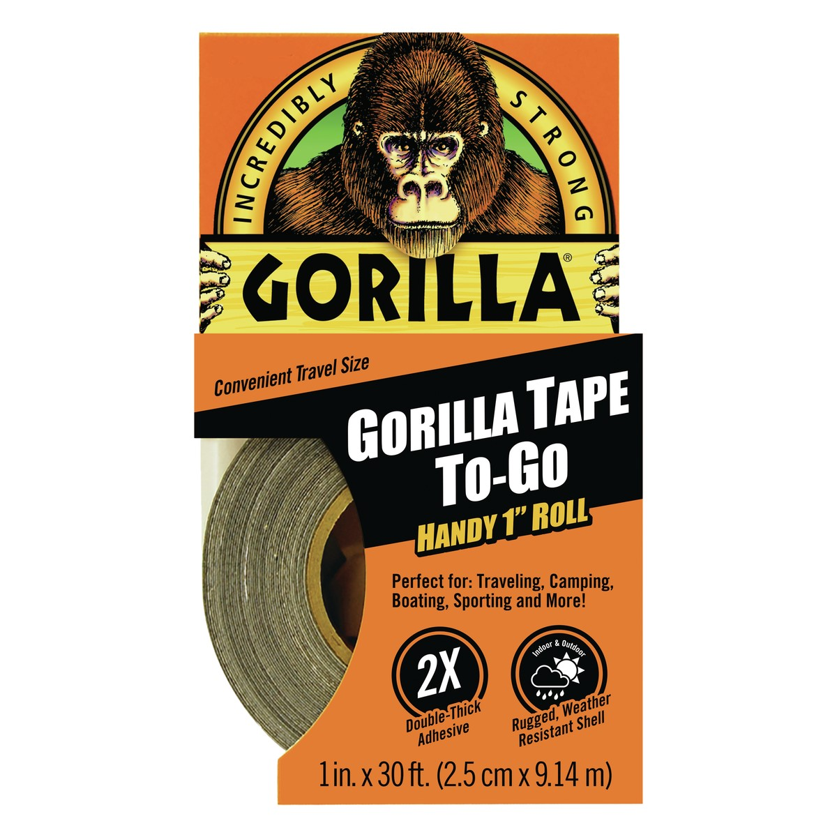 "Gorilla Tape To-Go Handy 1"" Roll, 30.0 FT"