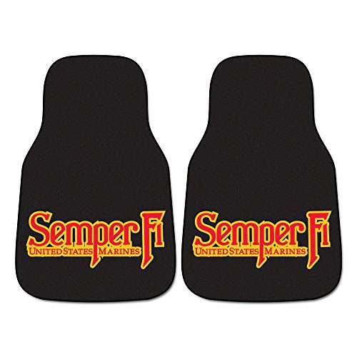 FANMATS 6554 Marines Carpeted Car Mats-Pair
