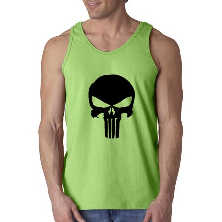 New Way 1152 - Men's Tank-Top The Punisher Skull Blackout 2XL Lime - The Punisher Suit