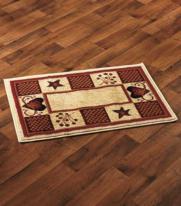 Primitive Country Hearts Stars Berries Area Rug Accent Runner Home Decor Rugs