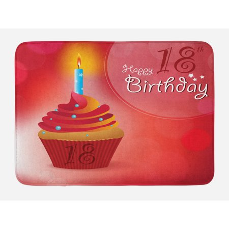 18th Birthday Bath Mat Sweet Eighteen Party Cupcake With Candles Artwork Print Non