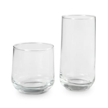 Better Homes & Gardens Josie Mixed Size Drinking Glasses, 16 Piece Glassware Set