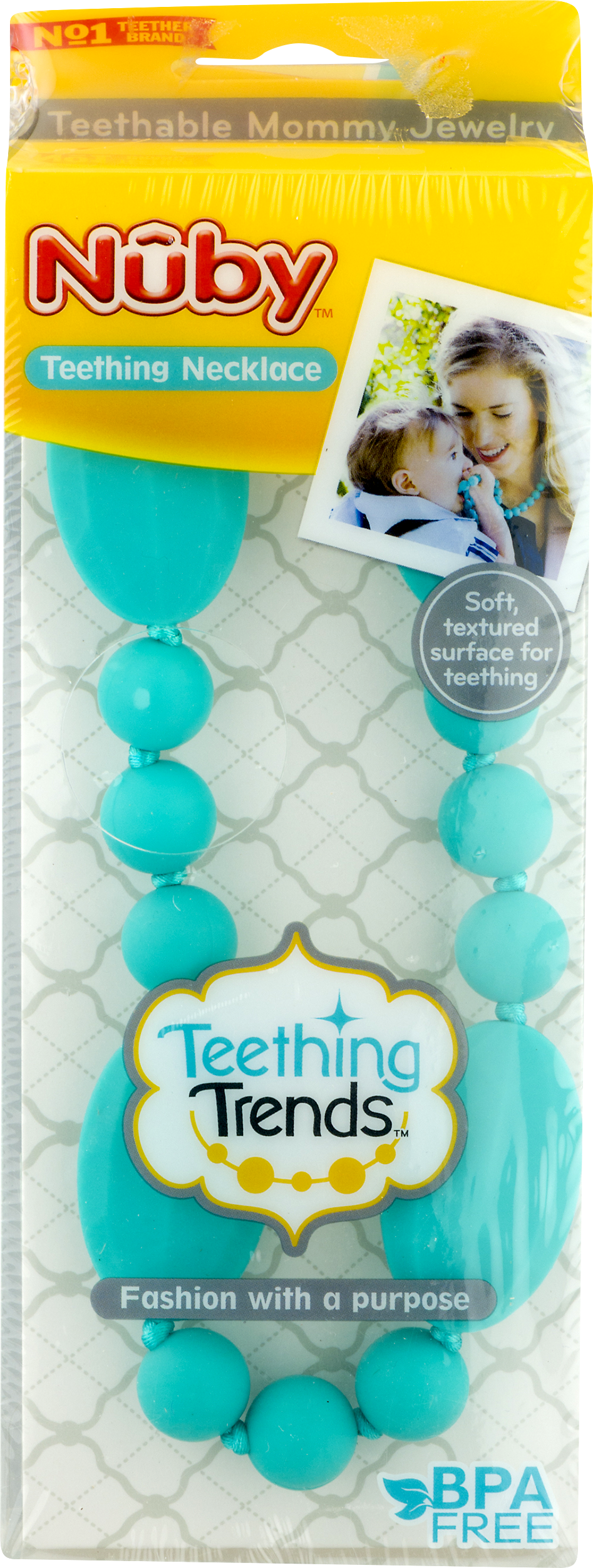 Nuby Teething Necklace Black soft surface Teething Trends For Parents BPA Free