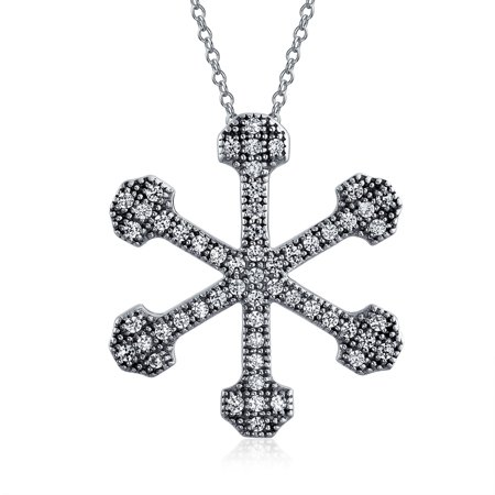 Christmas Micro Pave Cubic Zirconia CZ Holiday Star Snowflake Pendant Necklace For Women 925 Sterling Silver - image 3 of 3