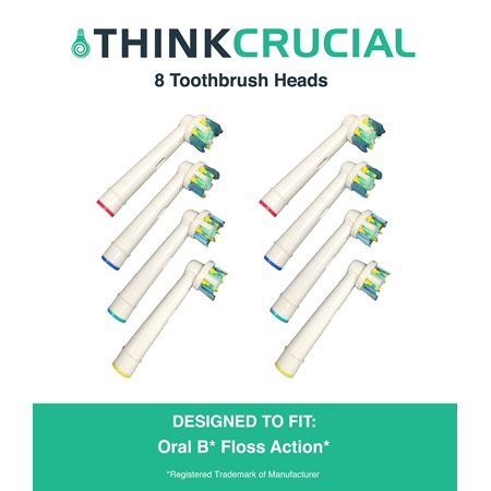 8 Oral-B Floss Action Electric Toothbrush Head Replacements, Part # EB-25A