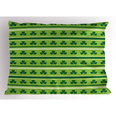 - Green Pillow Sham Traditional Irish Pattern with Clovers Happy St. Patrick's Day Theme, Decorative Standard Size Printed Pillowcase, 26 X 20 Inches, Lime Green Dark Green White, by Ambesonne