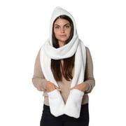 Women's Winter Fashion Accessories Ivory 3 in1 Soft & Cozy Fleece Hooded Hat Neck Head Scarf Mitten Polyester