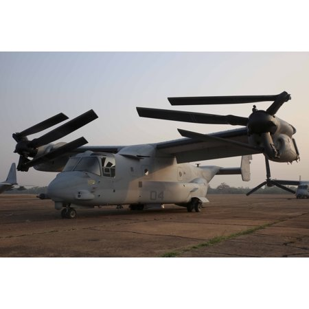 Canvas Print An MV-22B Osprey prepares to conduct troop lift support Feb. 12 on Wing One Royal Thai Air Force Bas Stretched Canvas 10 x 14