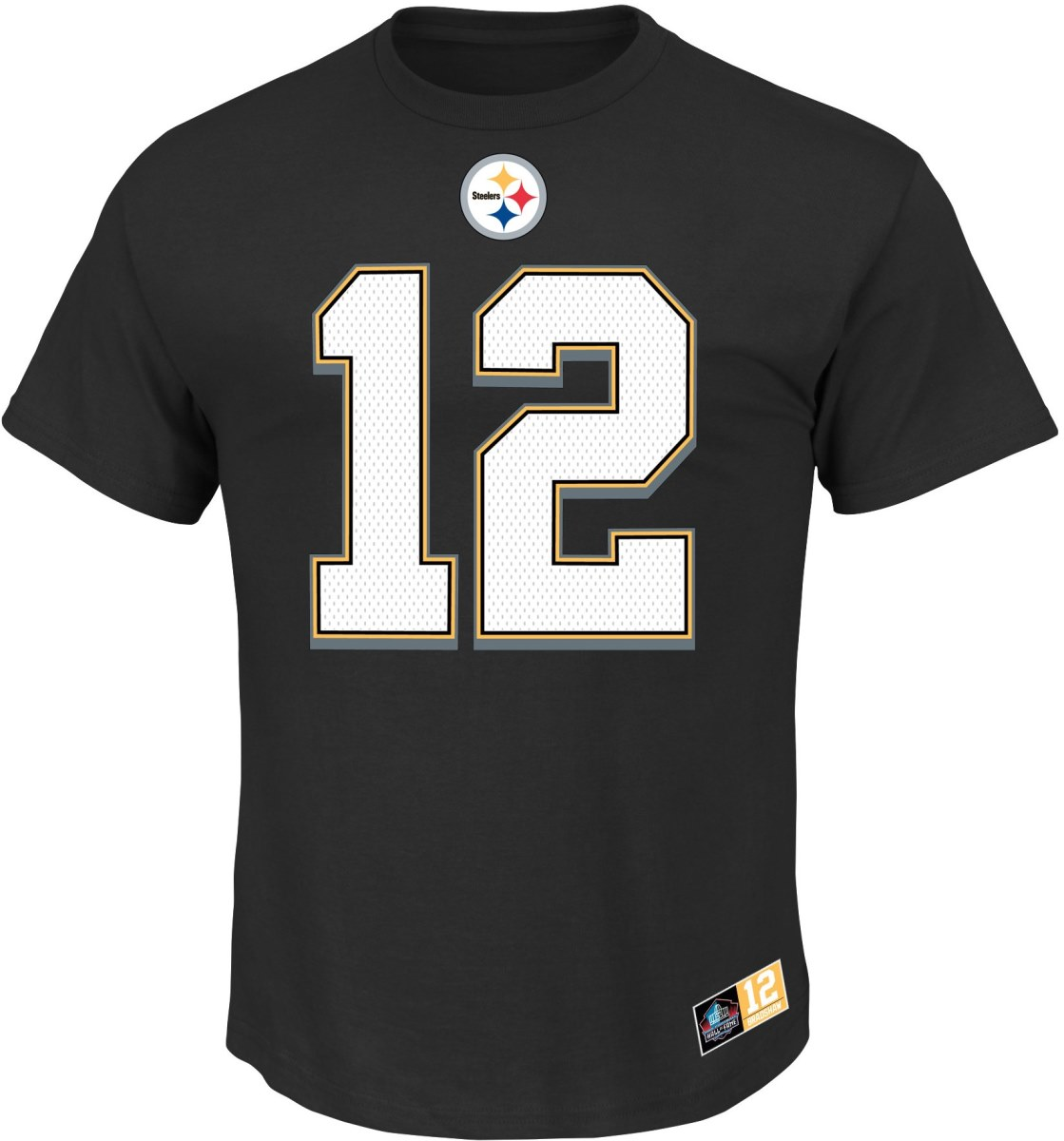 Terry Bradshaw Pittsburgh Steelers Majestic NFL Eligible Receiver II HOF T-Shirt