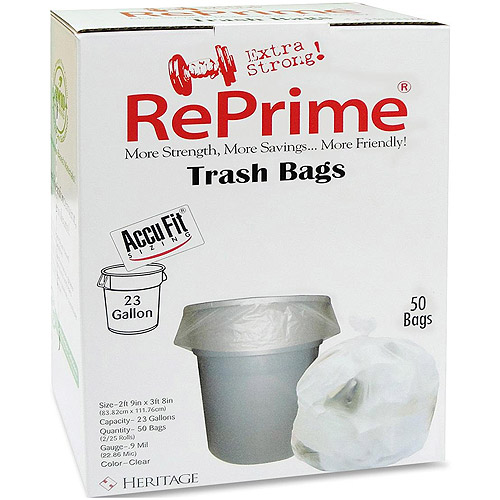 RePrime Accufit Trash Bags, Clear, 23 gal, 50 count