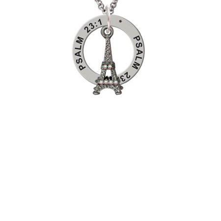 Black Nickeltone AB Crystal Eiffel Tower Psalm 23:1 Affirmation Ring Necklace