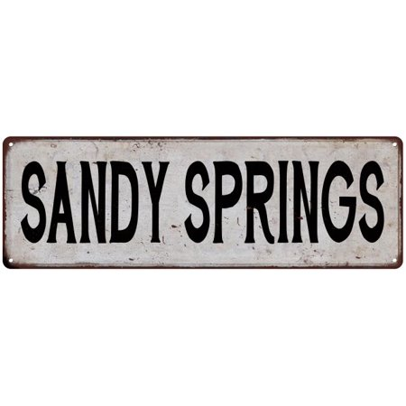 Sandy Springs Vintage Look Rustic Metal Sign Chic City State Retro 6186099