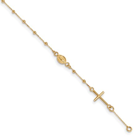 14k Yellow Gold 7.5 Inch Cross Religious Rosary Bracelet 6.5