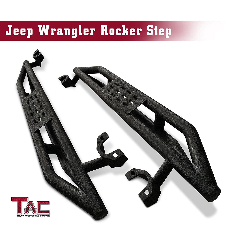 TAC Side Armor Steps for 2007-2018 Jeep Wrangler JK 2 Door (Exclude 2018 Wrangler JL Models) Textured Black Running Boards Nerf Bars Step Rail for Off-Road
