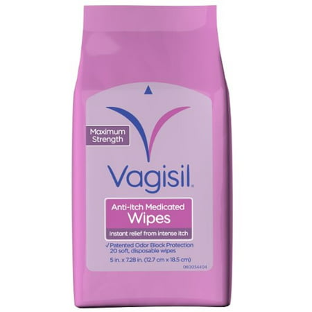 6 Pack - Vagisil Anti-Itch Medicated Wipes 20 Each