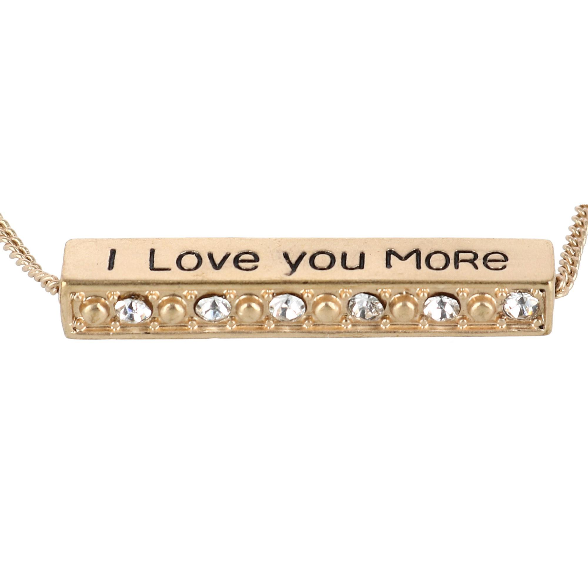Accessorize Me I Love You More Bar Pendant Necklace with Rhinestones - image 2 of 5