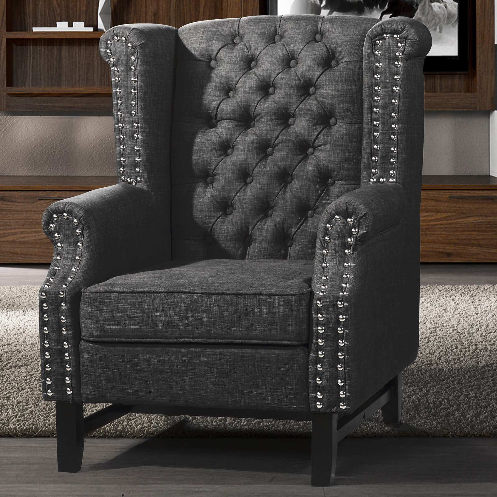 Best Master Furniture Rustic Tufted Fabric Wingback Chair