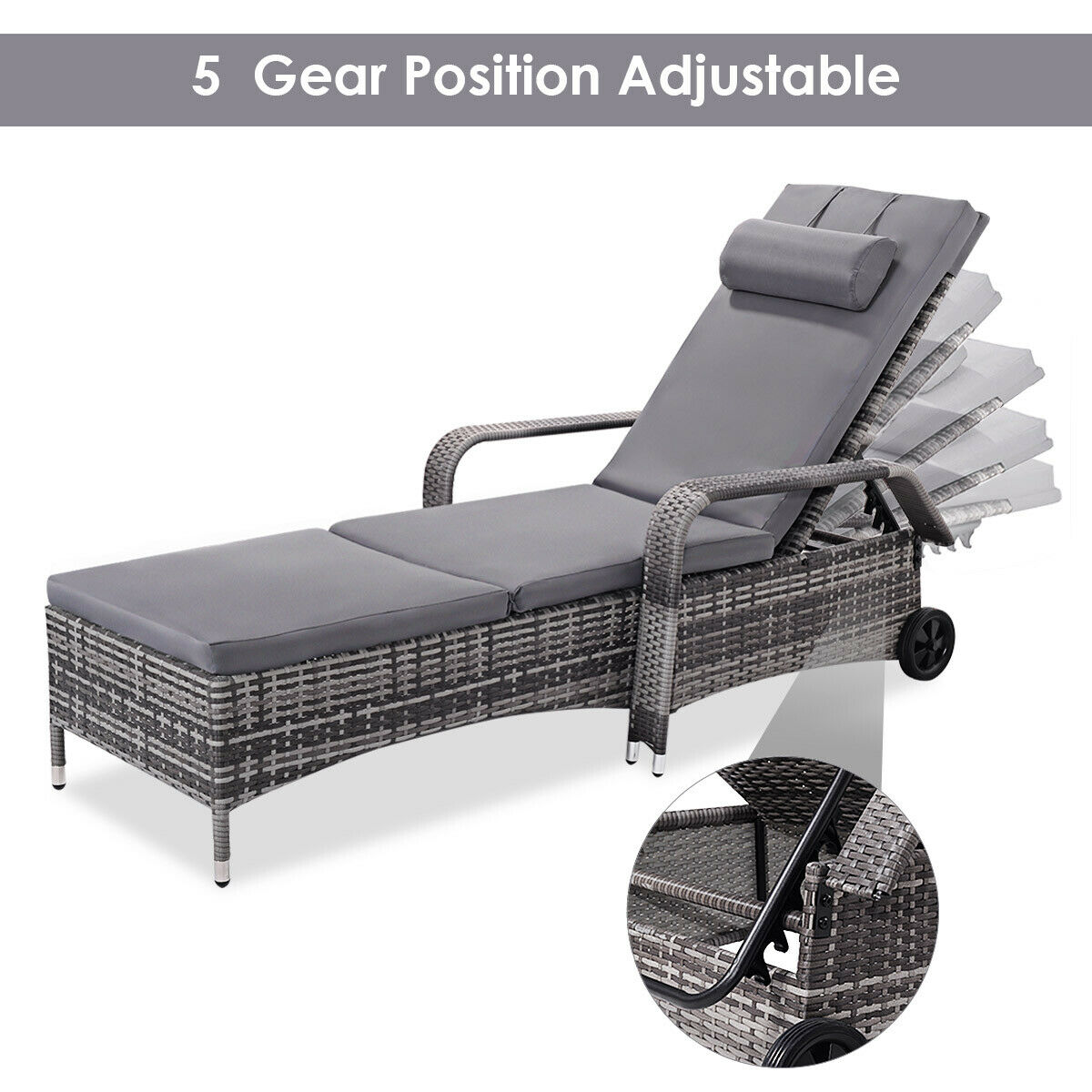 Outdoor Chaise Lounge.Costway Outdoor Chaise Lounge Chair Recliner Cushioned Patio Furni Adjustable W Wheels