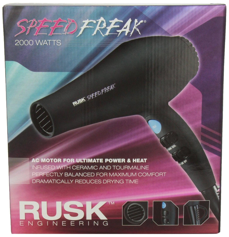 Rusk Speed Freak Professional Ceramic Tourmaline Hair Dryer, Black