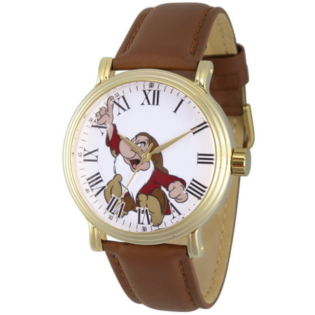 The Snow White Grumpy Men's Gold Vintage Alloy Watch, Brown Leather Strap