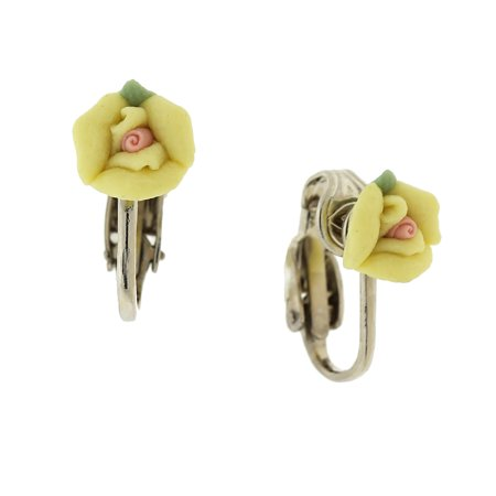 1928 Jewelry Women'S Silver-Tone Yellow With Pink Center Porcelain Rose Clip Earrings, Yellow, One Size Porcelain Rose Clip