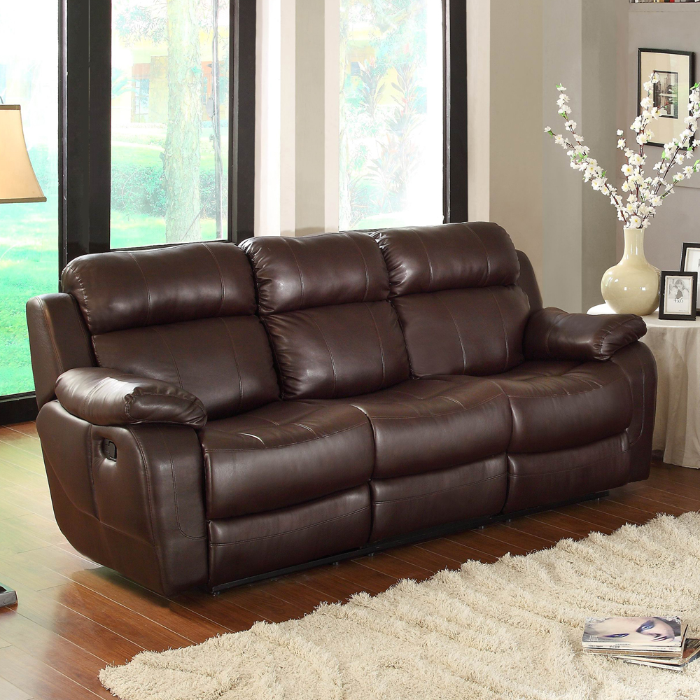 Stupendous Homelegance Marille Reclining Sofa W Center Console Cup Holder Brown Bonded Leather Pabps2019 Chair Design Images Pabps2019Com
