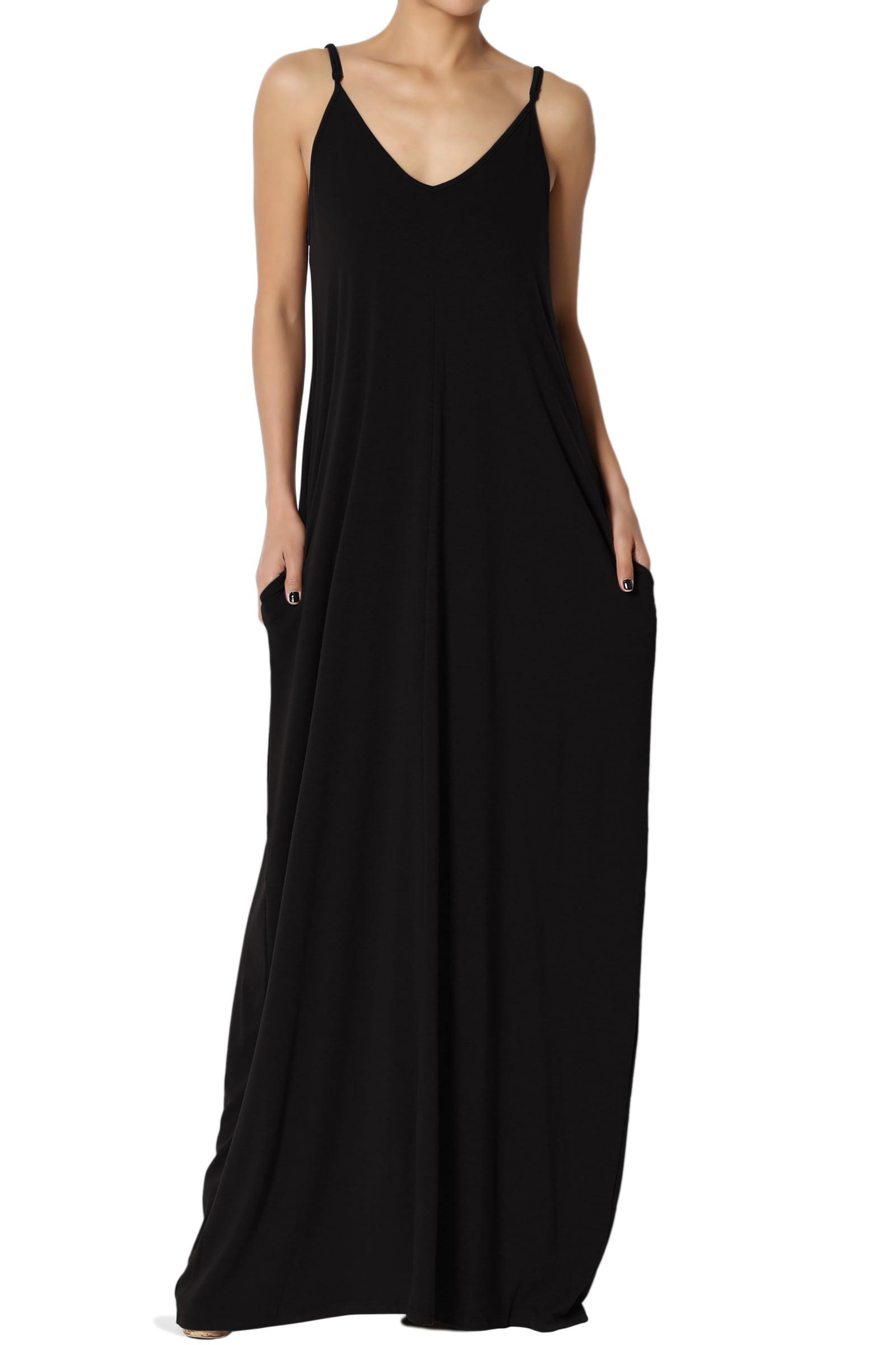 TheMogan Women's V-Neck Draped Jersey Casual Beach Cami Long Maxi Dress W Pocket