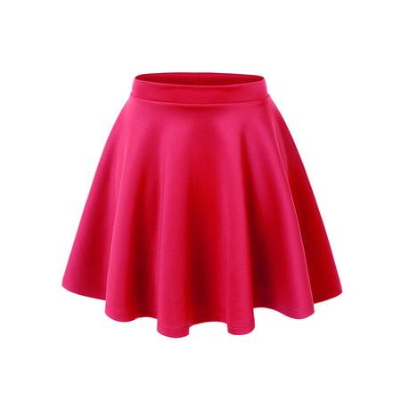 MBJ WB211 Womens Basic Versatile Stretchy Flared Skater Skirt XXL NEON_FUCHSIA Black Khaki Skirt