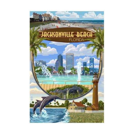 Jacksonville Beach, Florida - Montage Scenes Print Wall Art By Lantern Press - Healthy Halloween Jacksonville Beach