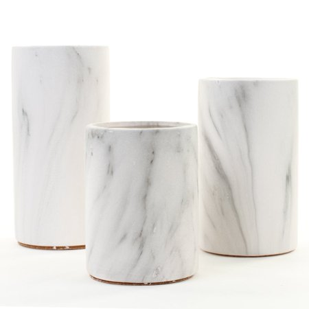 Koyal Wholesale Marble Effect Cylinder Vase Centerpiece Set of 3 for Marble Wedding, Marble Home Decor, Desk Accessories](Centerpieces Vases)
