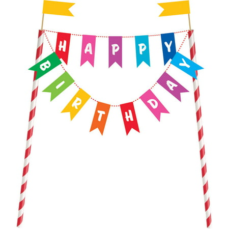 Rainbow Birthday Cake Banner