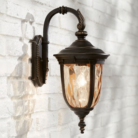 John Timberland Outdoor Wall Light Fixture Bronze 16 1 2 Hammered Gl Sconce For House Deck Patio Porch