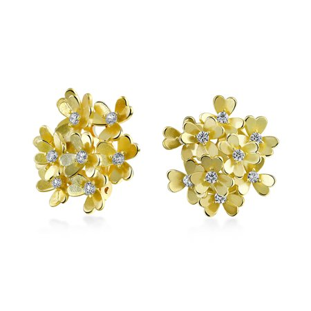 CZ Floral Cubic Zirconia Bouquet Of Flower Clip On Earrings For Women Non Pierced Ears Silver Rose Or Gold Plated