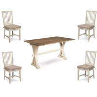 5 Piece Drop Leaf Terrace Dining Table Set and 4 Matching Chair in Washed Linen